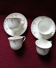 WEDGWOOD PINK GARLAND ESPRESSO COFFEE CUPS AND SAUCERS 2.25 INCHES