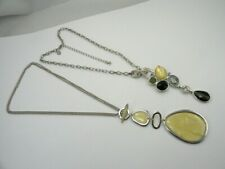 Lot of 2 Silver Tone Lia Sophia Abstract Pendant Necklaces Green Yellow Blue 16""