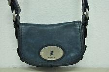 FOSSIL MADDOX Small Dusty Blue Leather Flap Crossbody Shoulder Swing Bag