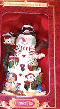 "Grandeur Noel Christmas Holiday ""Snowman"" Ornament New in Designer Tin Box"
