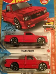 Hot Wheels 2020 #150 FIRST NEW MODEL 1991 91 GMC SYCLONE ERROR RED Lot Of 2