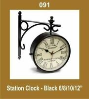 Outdoor Garden Station Wall Clock 12'' Nautical Black Roman Number