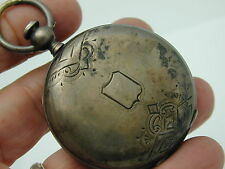 VINTAGE 1870 DUBOIS LOCLE STERLING KEY WIND SET BAR MOVEMENT HUNTER POCKET 52 MM