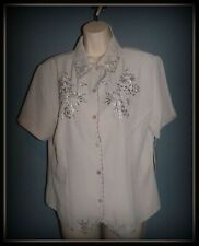 Notations, Ladies Taupe coloured short sleeved blouse, size L, NWT