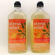 2 Bath & Body Works Aromatherapy Stress Relief Eucalyptus Tangerine Body Wash