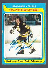 Brad Park Autographed 1979-80 Topps Hockey Record Breaker Card #164 Bruins JSA