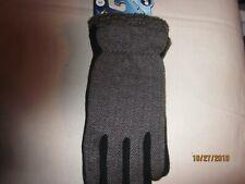 new MEN'S winter gloves ISOTONER smart touch GRAY polyester  ACRYLIC black MED.