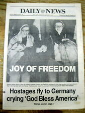 1981 newspaper PRESIDENT RONALD REAGAN INAUGURATION-IRAN FREES AMERICAN HOSTAGES