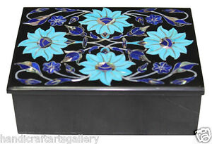 """4""""x3""""x2"""" Black Marble Storage Box Top Lapis Turquoise Inlay Floral Decors H2373"""