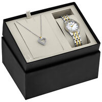 Bulova Women's Quartz Two-Tone 28mm Watch and Crystal Pendant Set 98X113