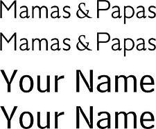 MAMAS & PAPAS PERSONALISED NAME PRAM LOGO  STICKERS DECALS 14 COLOURS