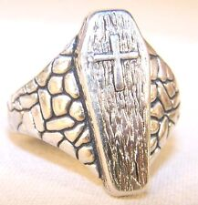 COFFIN W CROSS BIKER RING BR227 HEAVY silver new death mens womens crosses