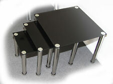 Nari Nest of 3 Black Glass Tables - BRAND NEW