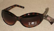 New JLO by Jennifer Lopez Womans Sunglasses Brown with Etched Arms & Pouch