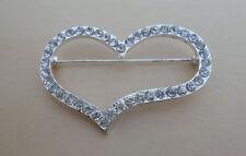 Big, Crystal Love Heart Shaped Brooch, Great Wedding, Bridal Accessory