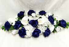 "Royal Blue Swag 30"" Arch Table Centerpiece Silk Wedding Flowers Artificial Lily"