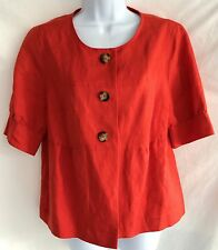 Women's East 5th Linen Jacket Short Sleeved Button Front Orange/Red Size M