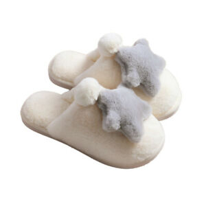 Unisex Adult Faux Fur Fluffy Star Slip on Slippers Furry Lined Flats Shoes Room