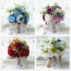 Wedding Artificial Flower Bouquet Supplies Bridal Bouquet Roses Bridesmaid  ~