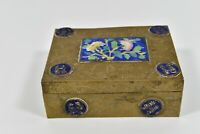 Antique Chinese Etched Brass Cloisonne Jewelry Trinket Box Asian Art Hinged Lid