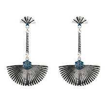 Bohemia Vintage Antique Silver Blue Crystal Fan Tassel Earrings For Women