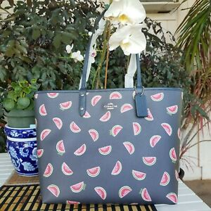 Coach Reversible Tote Watermelon Print Midnight/Red  NWT  RETAIL $350 VERY RARE