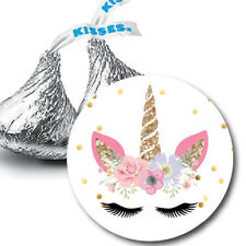 108 Unicorn Face Birthday Party Favors Hershey Kiss Stickers