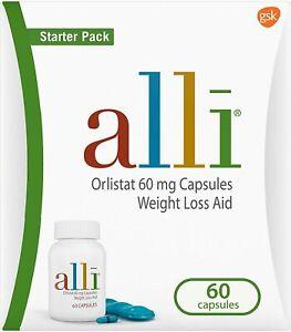 alli Diet Weight Loss Supplement Pills, Orlistat 60mg Capsules Starter Pack, Non