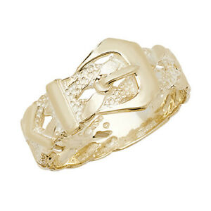 9ct Yellow Gold Solid Mens Buckle Design Band Ring, Sizes P to X (231)