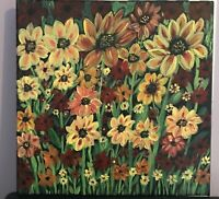 12x 12 Original hand-painted Floral acrylic painting on canvas w/COA