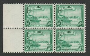 Bermuda 1943 ½d Bright yellow-green shade in block of four CW G60a Mnh.