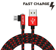 L Shape 90 Degree 10,6,4ft Braided Micro USB Cable FAST Charger Data Sync Cord