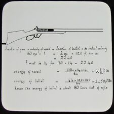 Glass Magic Lantern Slide CALCULATION FOR ENERGY OF BULLET FROM RIFLE C1900