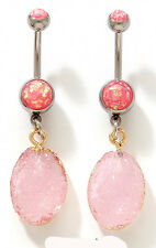 1 Pc Pink Druzy Stone Dangling & Pink Opal Glitter Stone Navel Ring 14g 3/8""