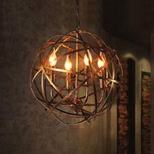 Lodge Warehouse Orb Cage 4-Light Metal Globe Hanging Candelabra Chandelier 220V