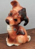 Royal Copley Ceramic Puppy Figurine Brown Spotted Dog Statute With Foil Label