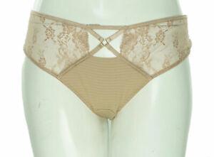 Ashley Graham Women's Plus Size Crisscross Keyhole Lace Thong Cappuccino