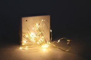 2 NIB Pottery Barn LED silver string lights, 15' long, 30' total Christmas