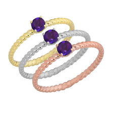 Genuine Amethyst Stackable Rope Gold Ring (Choose your Metal Color)