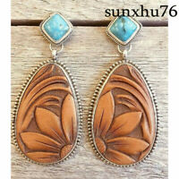 Boho 925 Silver Turquoise Gemstone Drop Dangle Hooks Earrings Wholesale