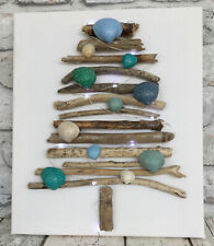 Driftwood Tree On Canvas With Painted Glitter Shells And Fairy Lights Coastal