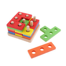 Montessori Wooden Toy Shape Stacking Game For 6 Month Above Baby Infant 01