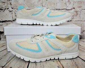 Womens Stone & Aqua Suede & Textile Lace Up Trainers UK 8 RRP £39.00