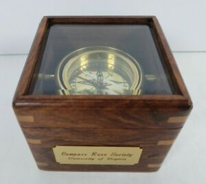 Boston Compass Wooden Box Glass Lid Univerity of Virginia Compass Rose Society
