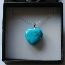 Turquoise Howlite Gemstone Heart Pendant Necklace in Gift Box