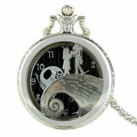 The Nightmare Before Christmas Necklace Pocket Watch Arabic Dial Unisex Gift New