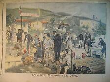 GRECE SOLDATS FRANCAIS A LA CANEE CRETE INONDATIONS VOIRON LE PETIT JOURNAL 1897