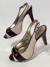 "AK Anne Klein Fabric And Tortoise Shell 4"" Open Toe Pumps High Heels"