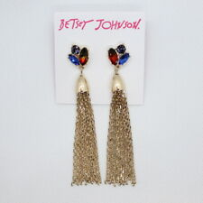Betsey Johnson Shake It Off Tassel Earrings Gold Red Blue Green Stud Post Drop