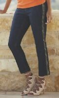 Midnight Velvet Denim Blue Gold Stud Crop Jean Embellished Summer Size 6 8 10